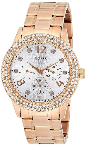 Guess Bedazzle Analog Silver Dial Watches for Women W1097L3
